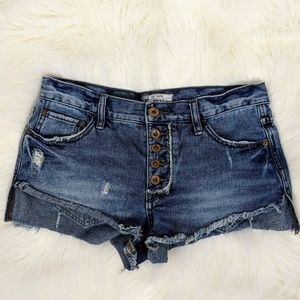 Free People Low Rise Distressed Shorts